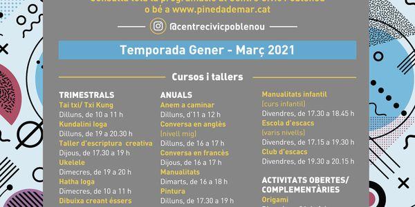 El Centre Cívic Poblenou presenta els nous cursos del primer trimestre de 2021