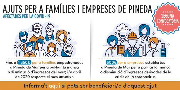 Segona convocatòria dels ajuts per a famílies i empreses de l'Ajuntament de Pineda afectades per la Covid-19
