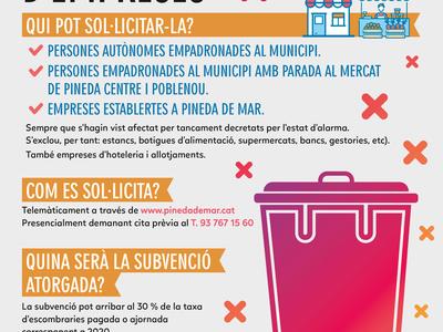 Tramitació subvenció de la taxa d'escombraries per empreses comercials i industrials (Covid-19)