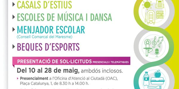 Beques d'ensenyament i esport pel curs 2021-22 de l'Ajuntament de Pineda de Mar